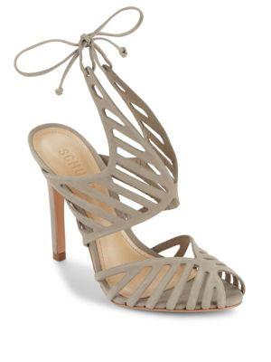 Schutz Anamelis Leather Cutout Shoes In Mouse