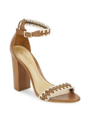 Schutz Floriza Open-toe Block Heel Sandals In Saddle