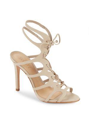 Schutz Woman Laurine Lace-up Cutout Leather Sandals Beige