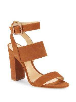 Schutz Franzen Block-heel Leather Sandals In Saddle