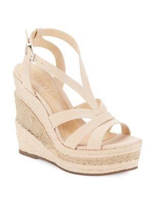 Schutz Daenerys Tanino Leather Wedge-heel Sandals In Nude