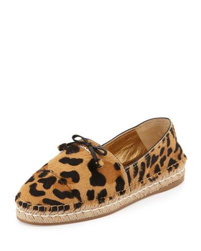 Prada Calf Hair Bow Espadrille Flat, Leopard
