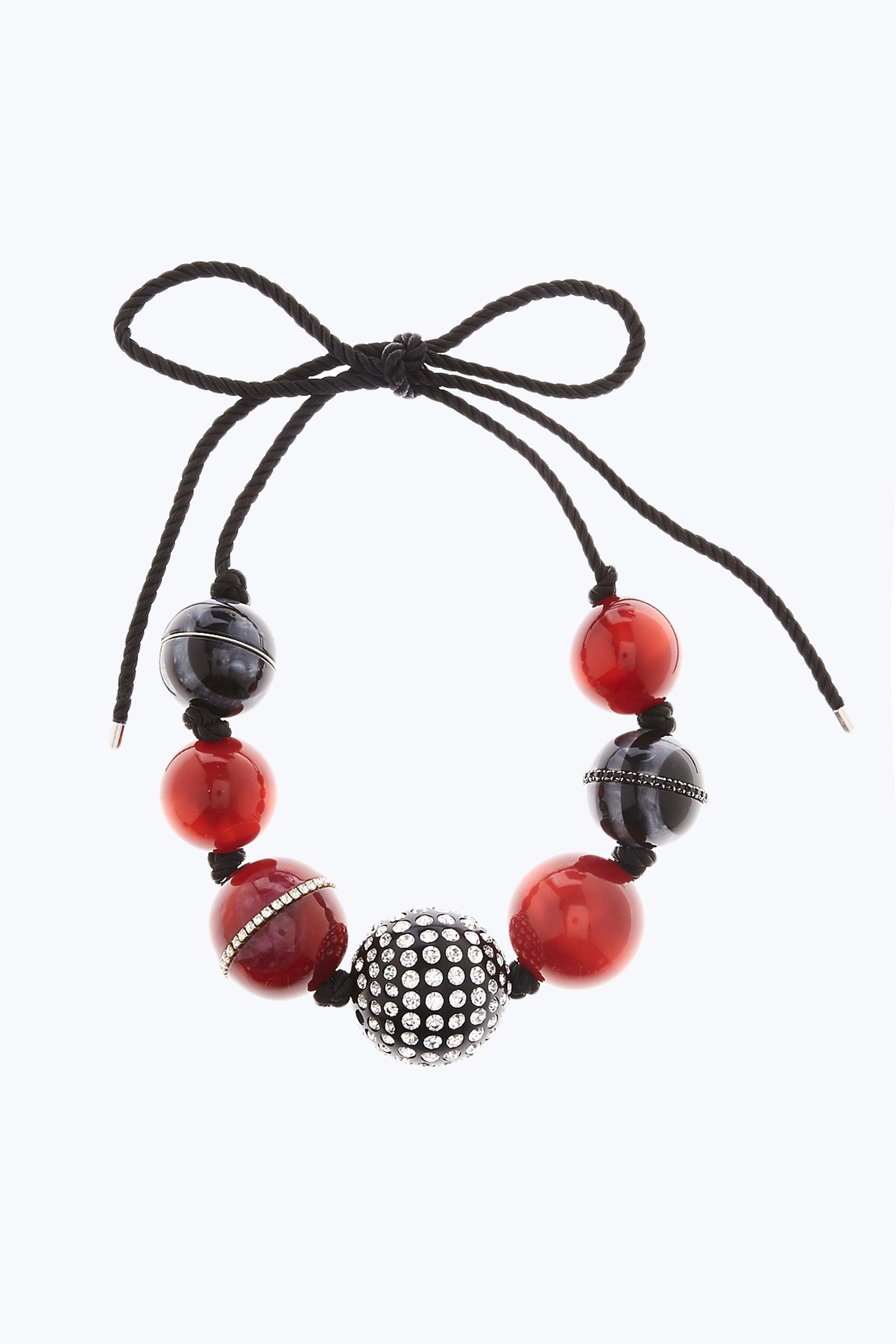 Marc Jacobs Striped Rope Bead Necklace In Red Multi