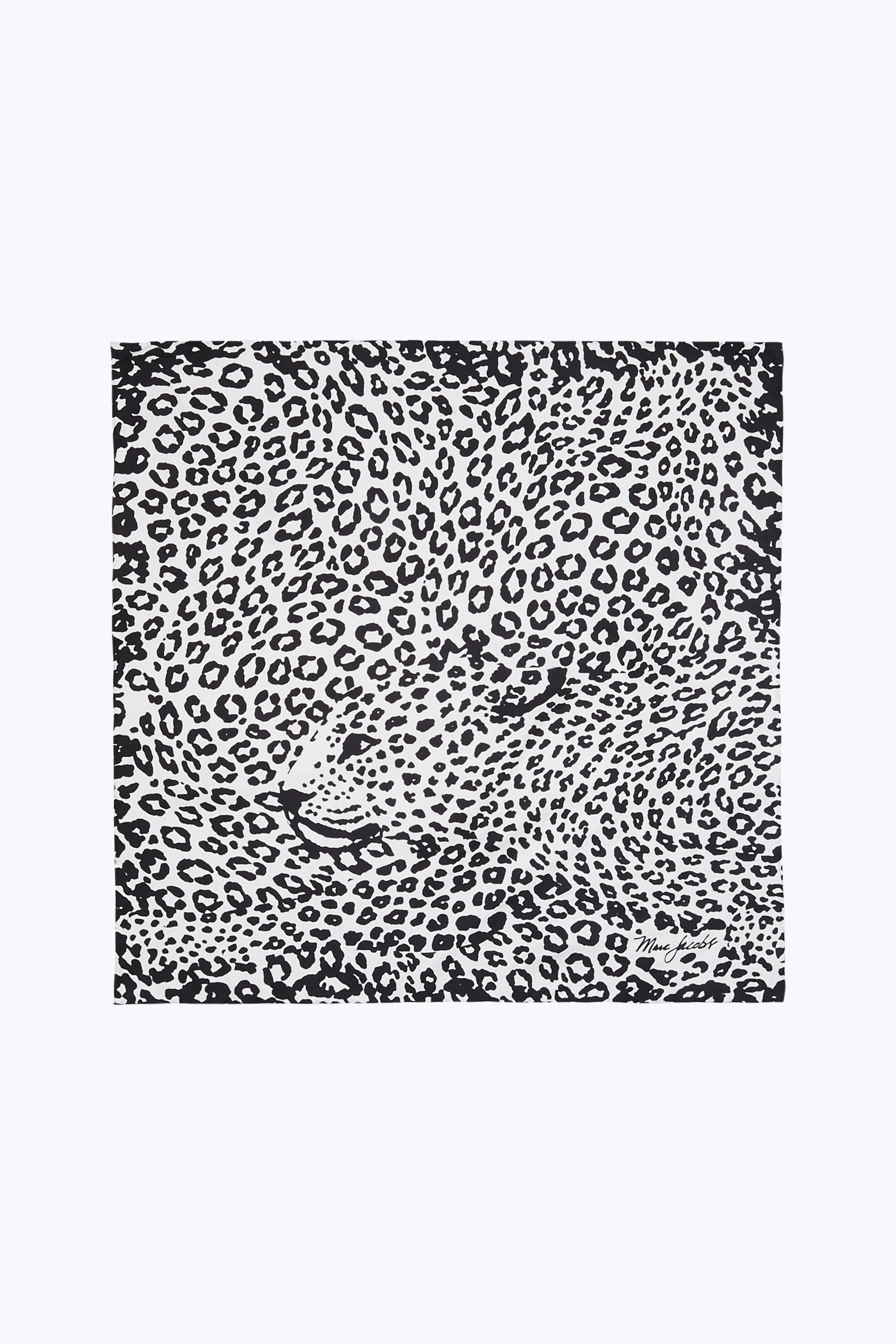 Marc Jacobs Leopard Square Scarf In Black/white