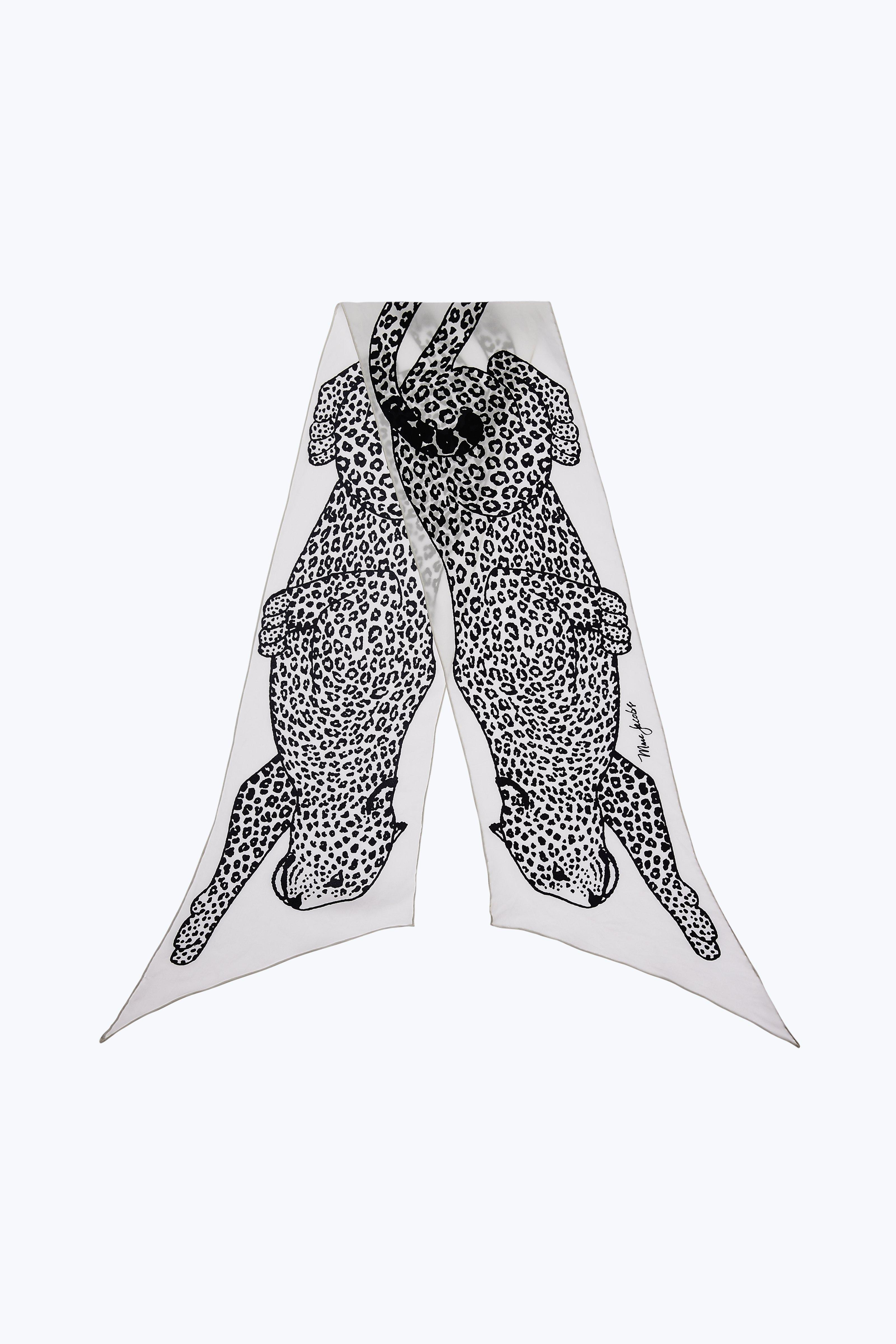Marc Jacobs Leopard Long Scarf In Black/white