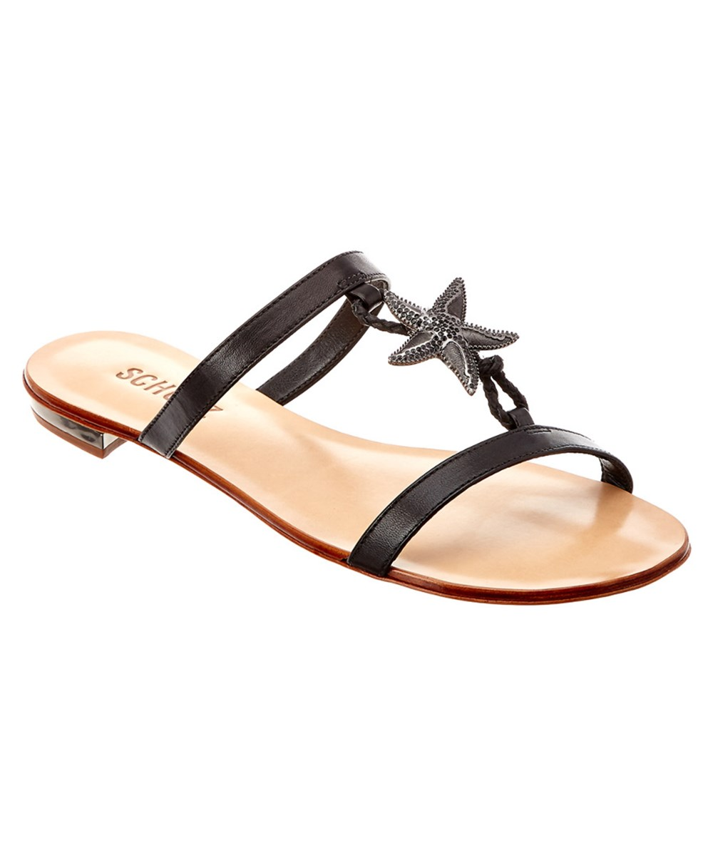 Schutz Starmy Leather Sandal In Black