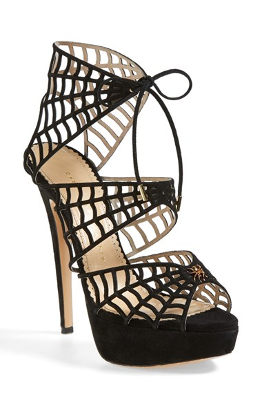 Charlotte Olympia Caught In Charlotte's Web Suede Platform Sandals In Black