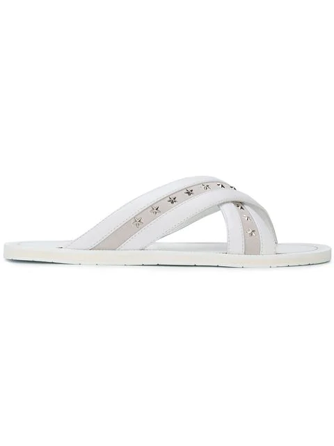Jimmy Choo Wally White Shiny Calf Leather Sandals With Silver Stars