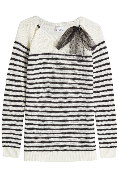 Red Valentino Striped Pullover In Wool, Angora And Cashmere In Stripes