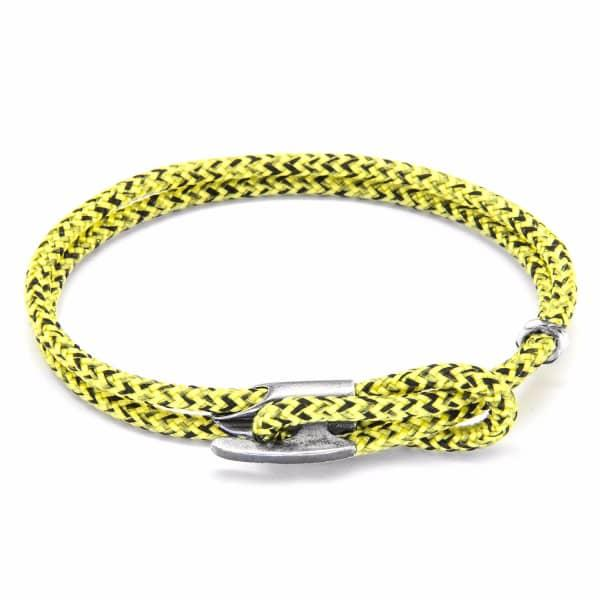 Anchor & Crew Yellow Noir Padstow Silver & Rope Bracelet
