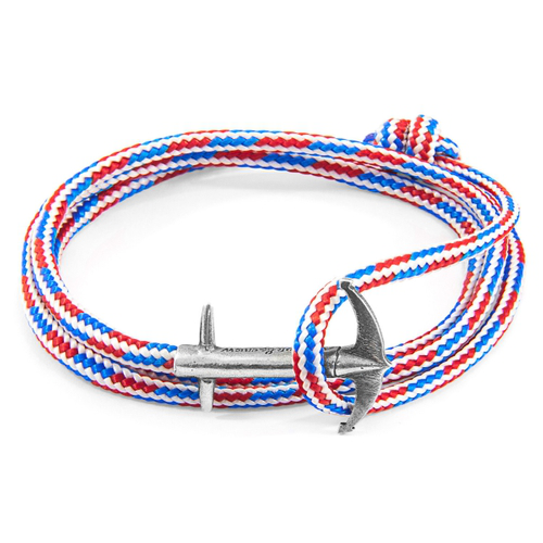 Anchor & Crew Project-Rwb Red White And Blue Admiral Anchor Silver And Rope Bracelet