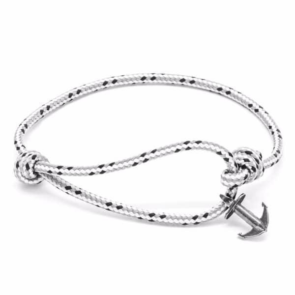 Anchor & Crew Grey Dash Severn Silver & Rope Bracelet