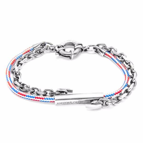 Anchor & Crew Project-rwb Red White & Blue Belfast Silver & Rope Bracelet