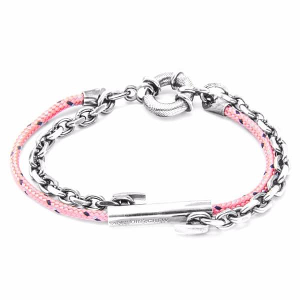 Anchor & Crew Pink Belfast Silver & Rope Bracelet
