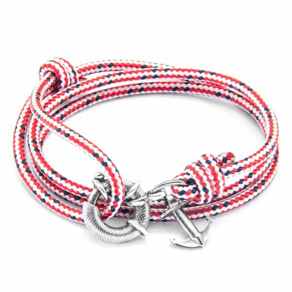 Anchor & Crew Red Dash Clyde Silver & Rope Bracelet