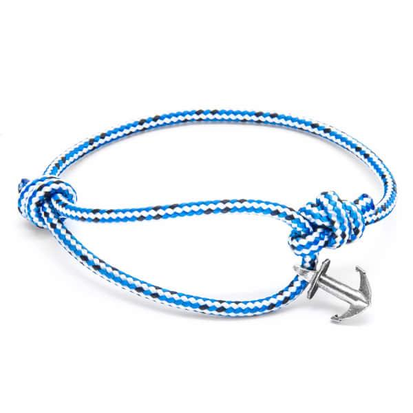 Anchor & Crew Blue Dash Severn Silver & Rope Bracelet