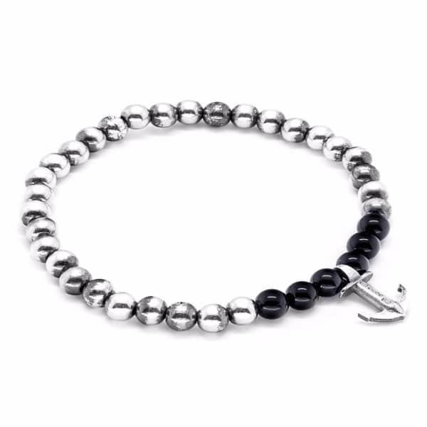 Anchor & Crew Black Onyx Keel Silver & Stone Bracelet