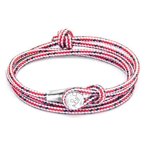 Anchor & Crew Red Dash Dundee Silver & Rope Bracelet