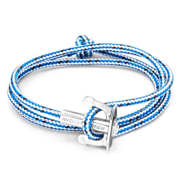 Anchor & Crew Blue Dash Union Silver & Rope Bracelet