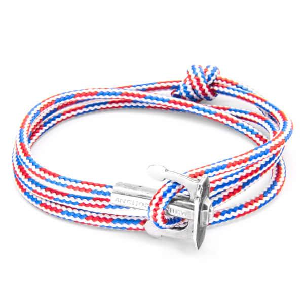 Anchor & Crew Project-rwb Red White & Blue Union Silver And Rope Bracelet