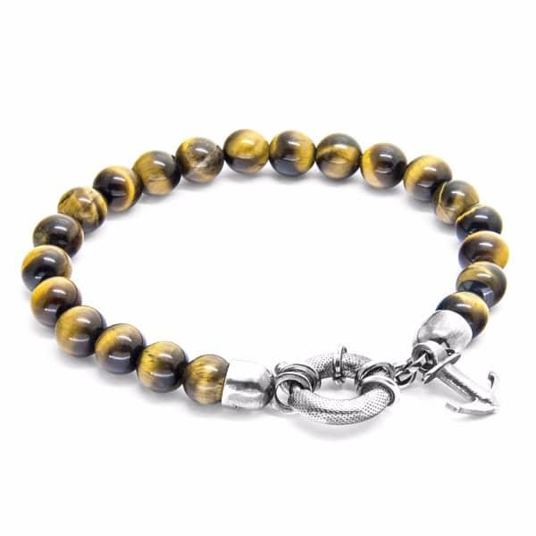 Anchor & Crew Brown Tigers Eye Port Silver & Stone Bracelet
