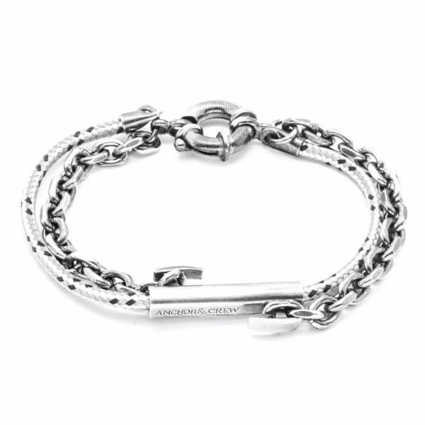 Anchor & Crew Grey Dash Belfast Silver & Rope Bracelet