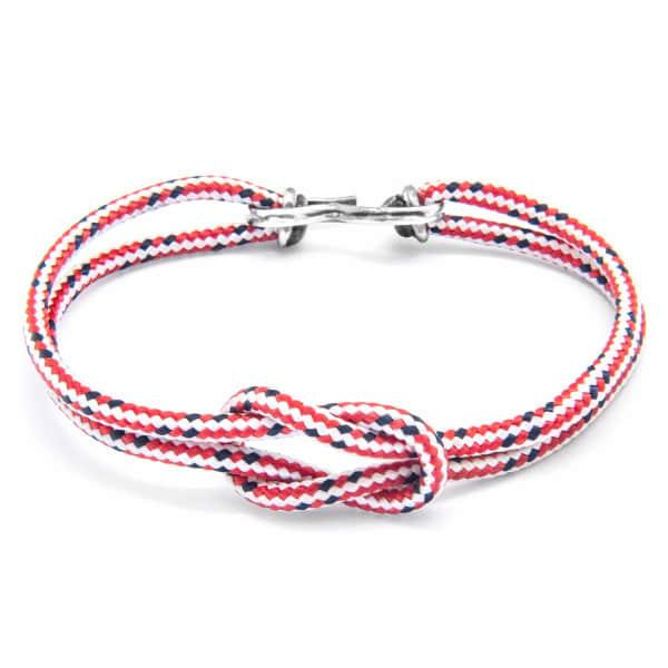 Anchor & Crew Red Dash Foyle Silver & Rope Bracelet