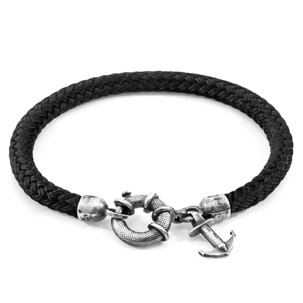Anchor & Crew Black Salcombe Silver And Rope Bracelet