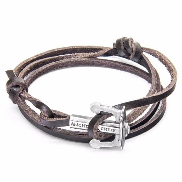 Anchor & Crew Dark Brown Union Silver & Leather Bracelet