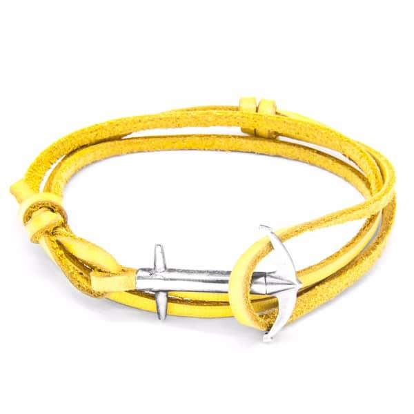 Anchor & Crew Mustard Yellow Admiral Anchor Silver & Flat Leather Bracelet