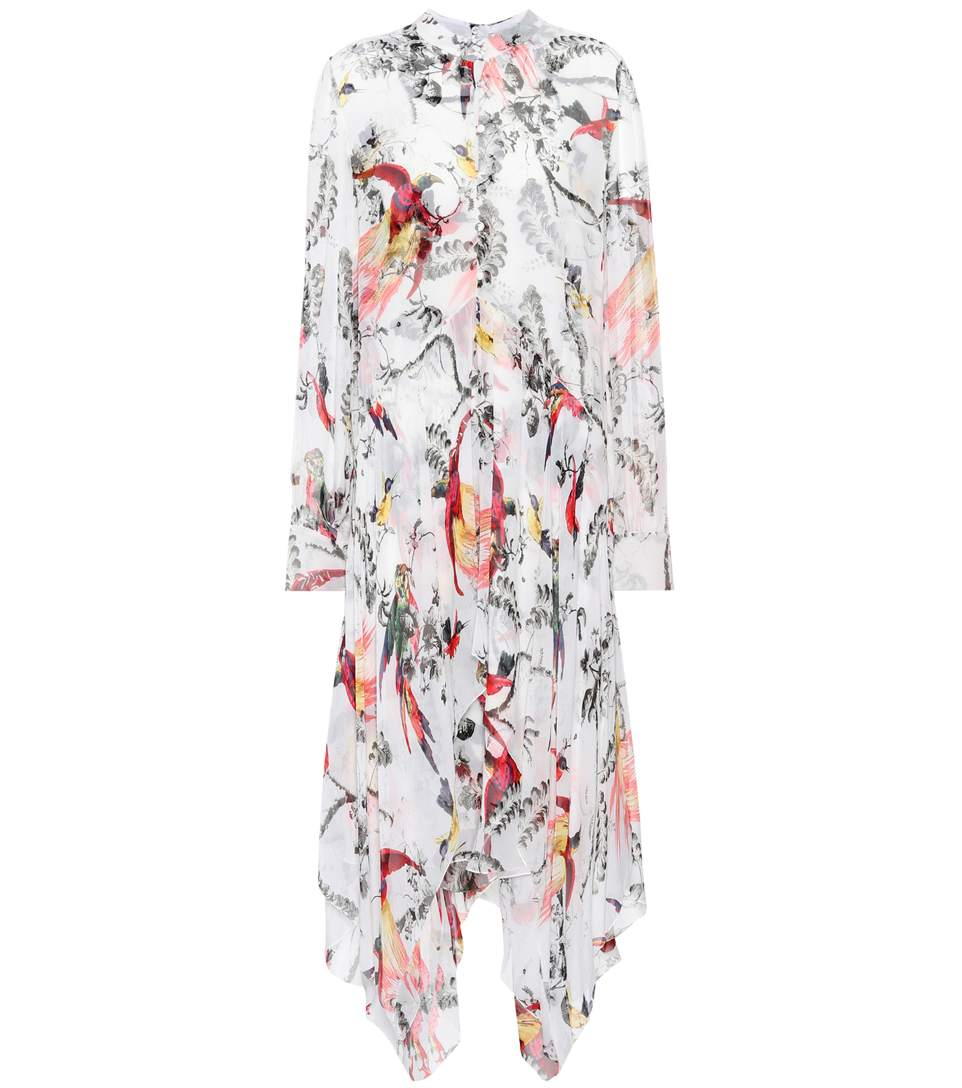 Erdem Kaylah Asymmetric Printed Silk-voile Dress In White