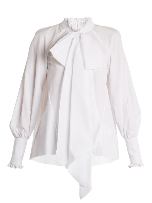 Erdem Isabelle Ruffle-trimmed Cotton-poplin Blouse In White