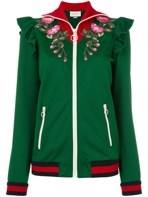 Gucci Ruffled-shoulder Zip-through Jersey Jacket In Multicoloured
