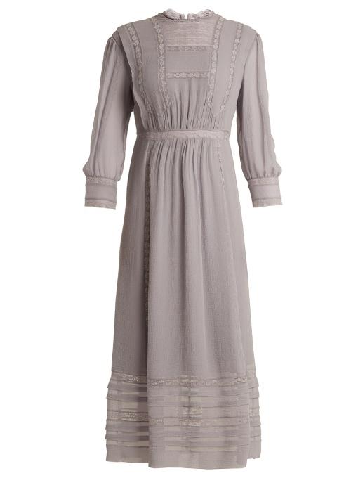 Burberry Georgetta Lace-trimmed Crinkle-silk Dress In Light Blue
