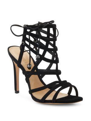 Schutz Latonya Suede Cage Sandals In Black