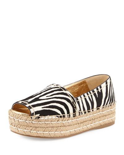 Prada Zebra-print Calf-hair Espadrille Slip-on, Black/white (bianco+nero) In Bianco/nero