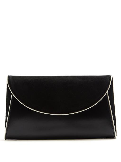 Diane Von Furstenberg Foldover Suede And Leather Clutch In Black