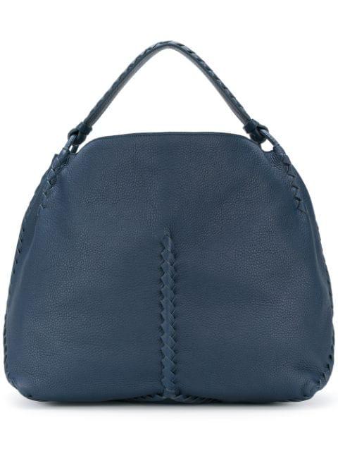 Bottega Veneta Intrecciato Leather Tote In Blue