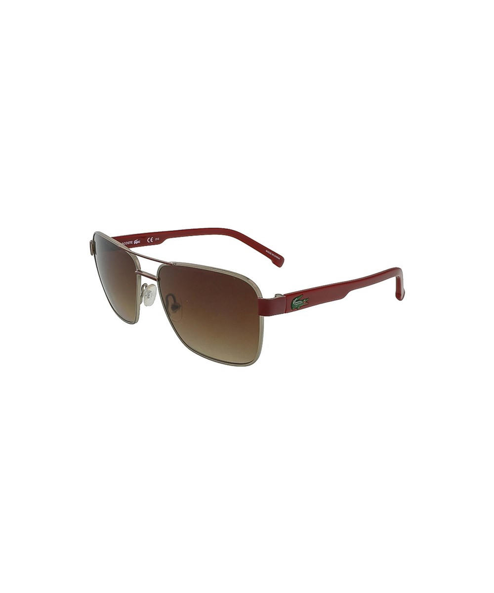 Lacoste L3105s 317 Khaki-red Aviator Sunglasses In Green