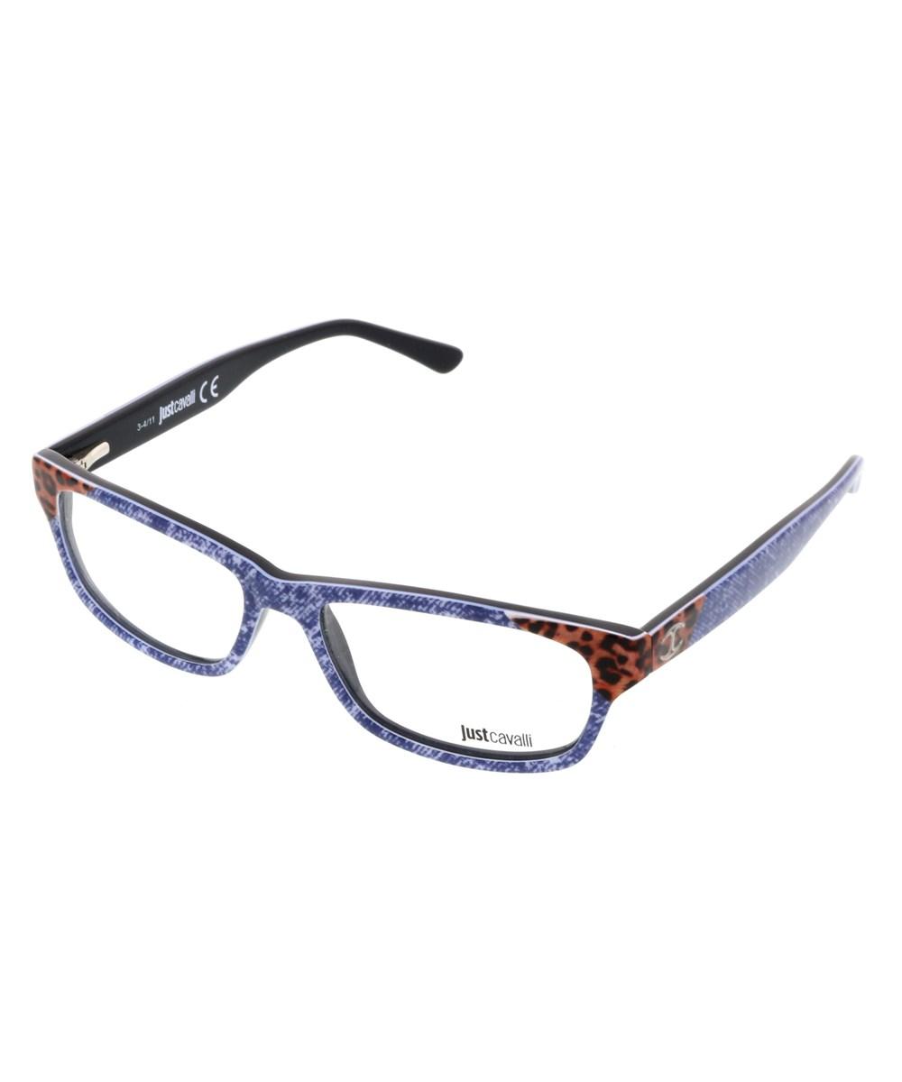 Just Cavalli Jc0458/v 092 Denim Rectangle Optical Frames In Blue