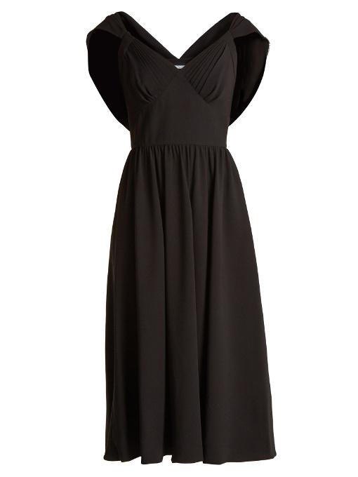 Prada Cowl-back Crepe Dress In Black