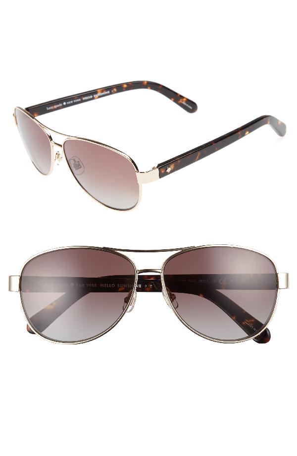 Kate Spade 'dalia' 58mm Polarized Aviator Sunglasses In Gold Havana