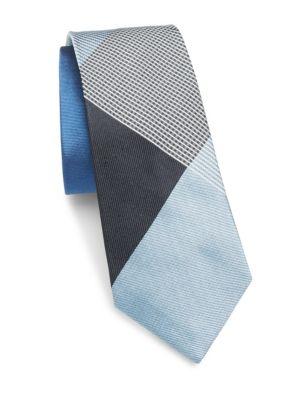 Burberry Manston Silk Tie In Blue Multicolor