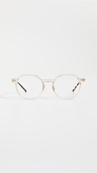 Linda Farrow Luxe Linear Griffin Glasses In Ash/camo T-shell/lt Gold/optic