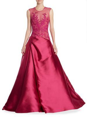 Monique Lhuillier Embroidered Sleeveless Gown In Garnet