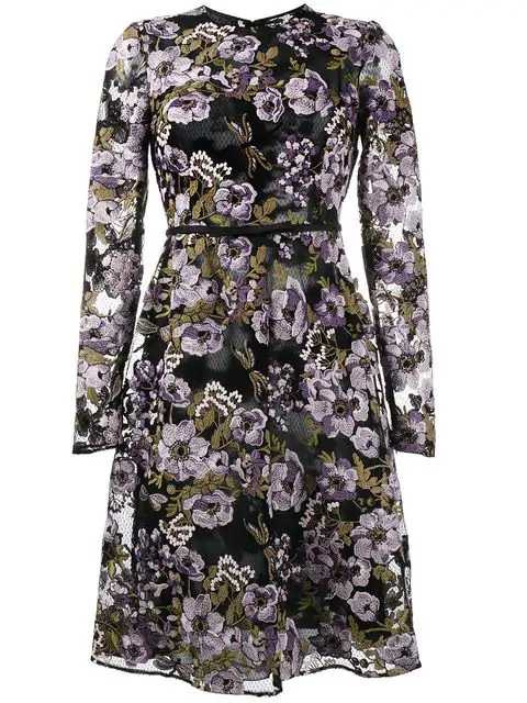 Giambattista Valli Floral Embroidered Bow Embellished Dress In Black