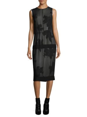 Derek Lam Studded Double-layer Chiffon Dress In Black-white