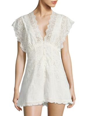 Zimmermann Paradiso Cotton And Silk Lace Blouse In Ivory