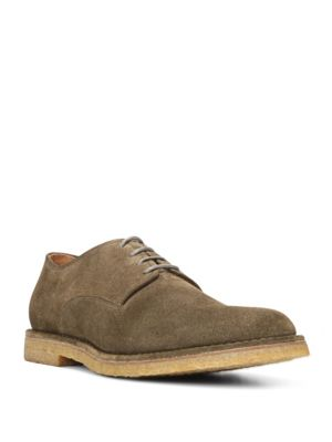 Vince Stetson Suede Crepe Sole Derby Shoes In Dark Olive