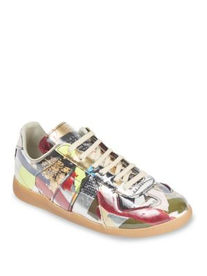 Maison Margiela Replica Collage Print Low-top Leather Sneakers In Multi